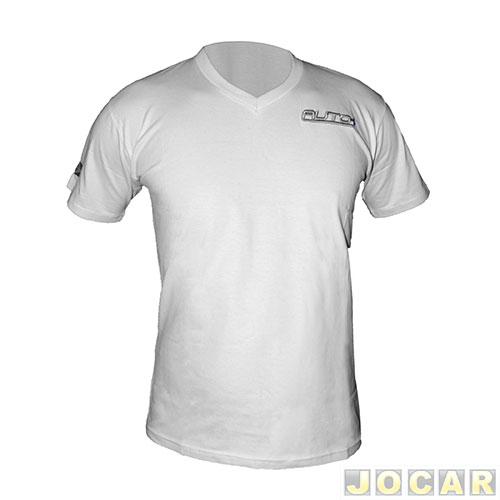 Camiseta Auto+ gola V - tamanho M - branca - Automais 28631e3f214dc
