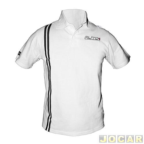 Camisa polo Auto+ com listra lateral – tamanho m – branca 3c8bceced46d9