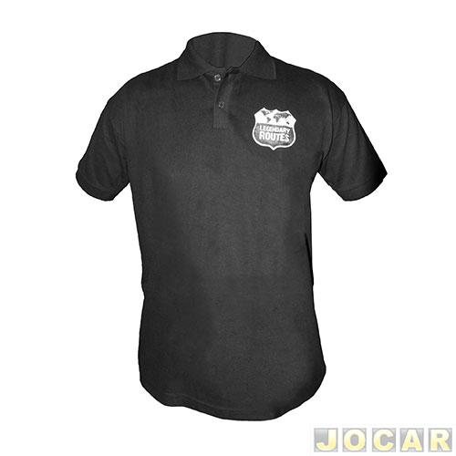 Camisa polo Auto+ Legendary Routes tamanho P - 100% algodão - preta ... 7b45b30d3bbf7
