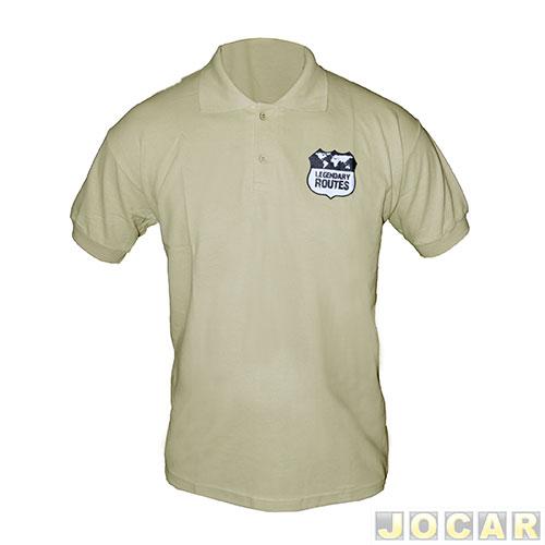 Camisa polo Auto+ Legendary Routes – tamanho GG – 100% algodão – bege 3da56e708f52a
