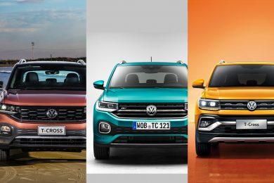 VW T-Cross brasileiro, europeu e chinês [divulgação
