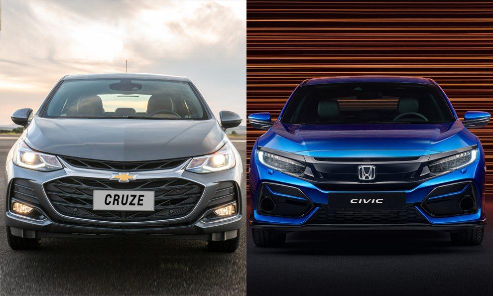 Chevrolet Cruze e Honda Civic [divulgação]