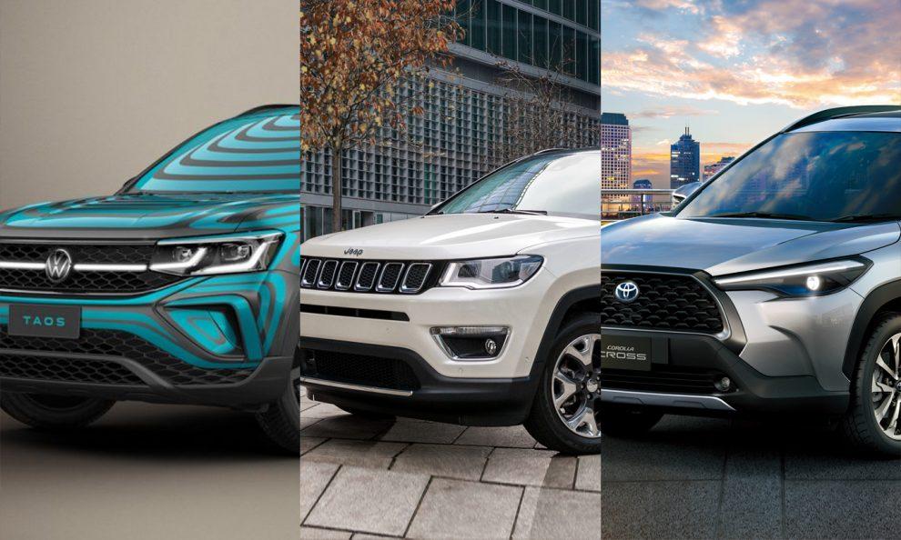 Volkswagen Taos, Jeep Compass e Toyota Corolla Cross [divulgação]