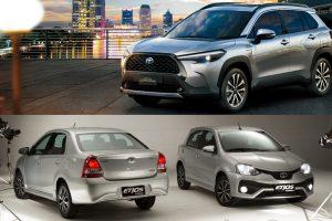 Toyota Corolla Cross / Etios e Etios Sedã [divulgação]
